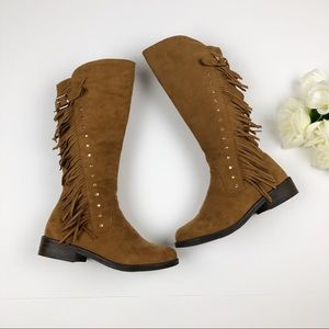 Steve Madden Girl's Tall Tan Suede Riding Boots 1